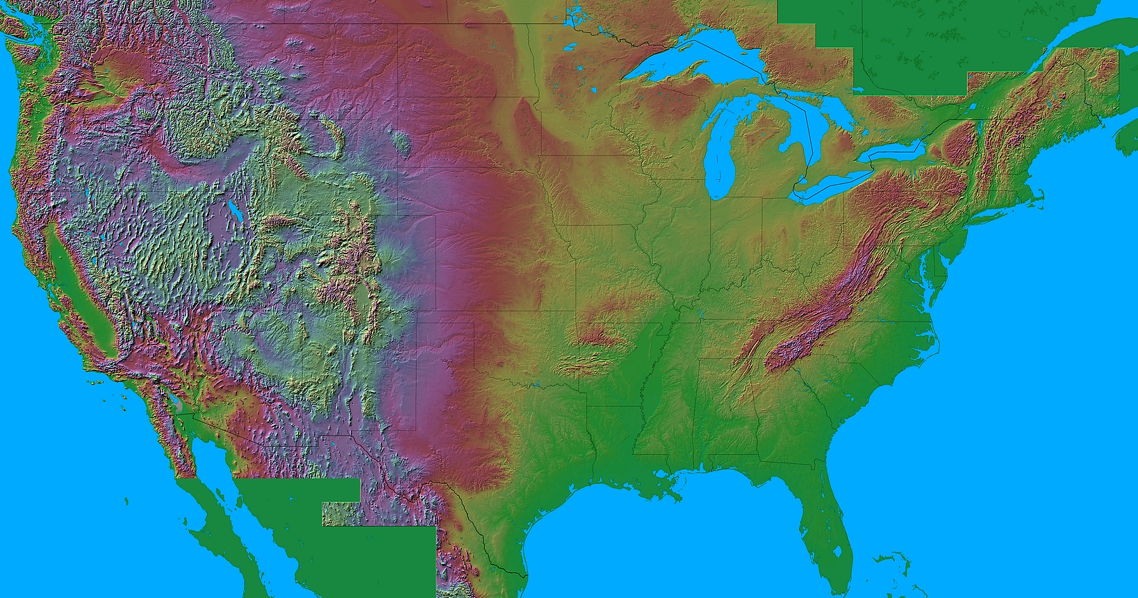 Relief Map Of United States.Shaded Relief Maps Of The United States