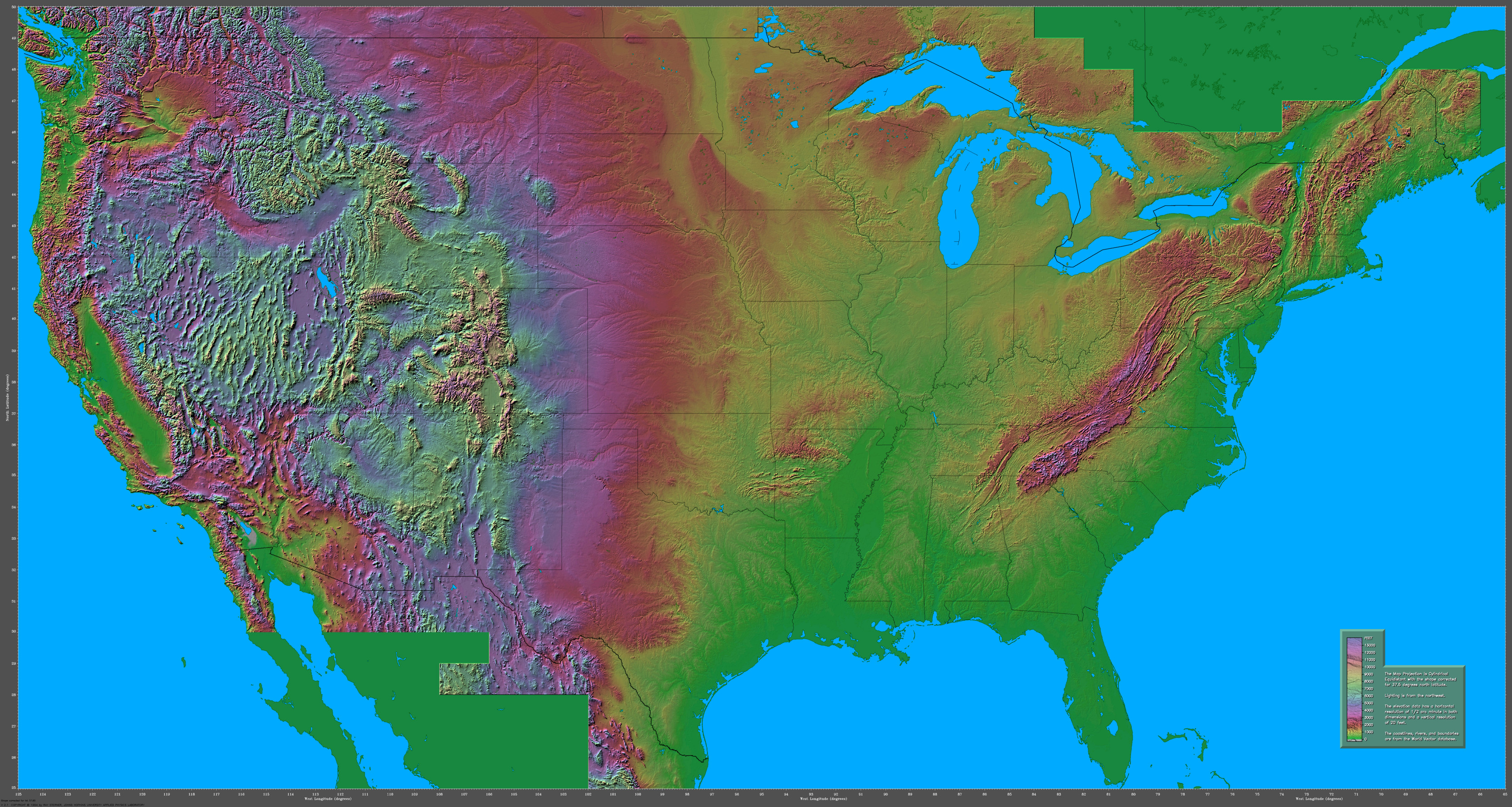 Shaded Relief Maps Of The United States